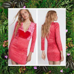 $250 NWT FREE PEOPLE Pink V-neck Boho Mini Dress